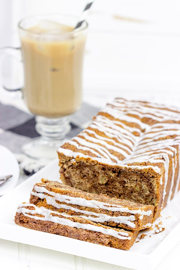 Swirled with cinnamon, this Glazed Cinnamon Roll Bread is the perfect treat for morning, noon and night! #MyIcedCafe