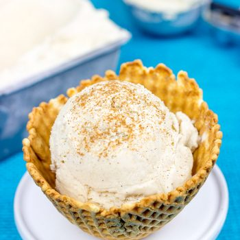 Topped with a sprinkle of cinnamon, this creamy Chai Tea Latte Ice Cream is the perfect dessert for a hot summer day!