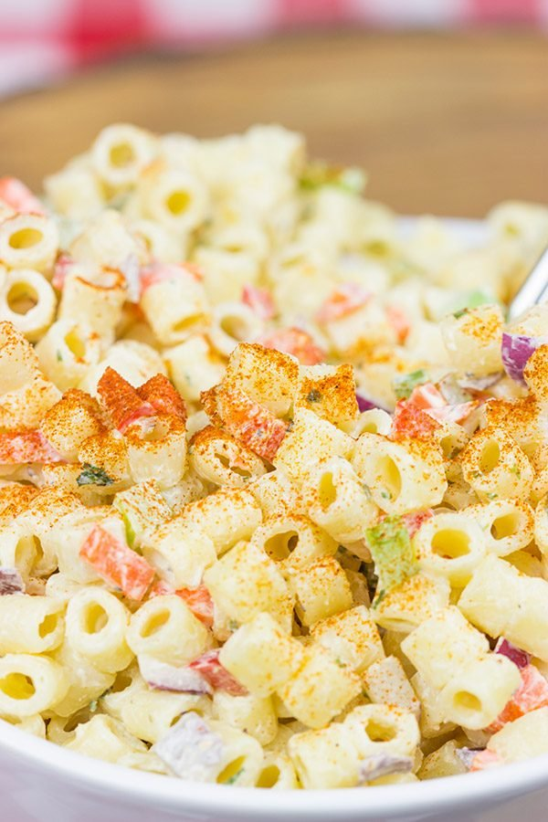 This Classic Macaroni Salad is perfect for summer picnics and dinners on the back porch!