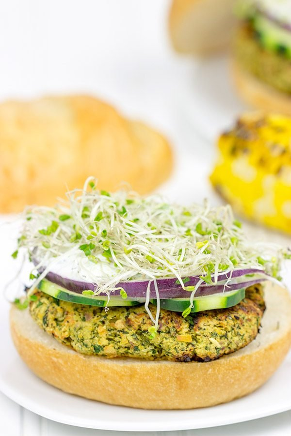 Grab some grill tongs and mix it up with some Grilled Falafel Burgers for dinner tonight!