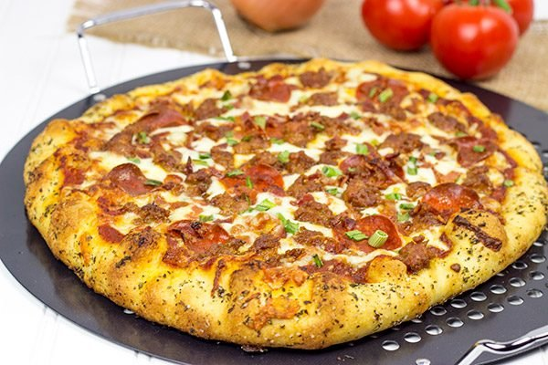 This Meat Lover's Pizza is loaded with cheese, sausage, bacon and pepperoni...and it's guaranteed to satisfy that pizza craving!