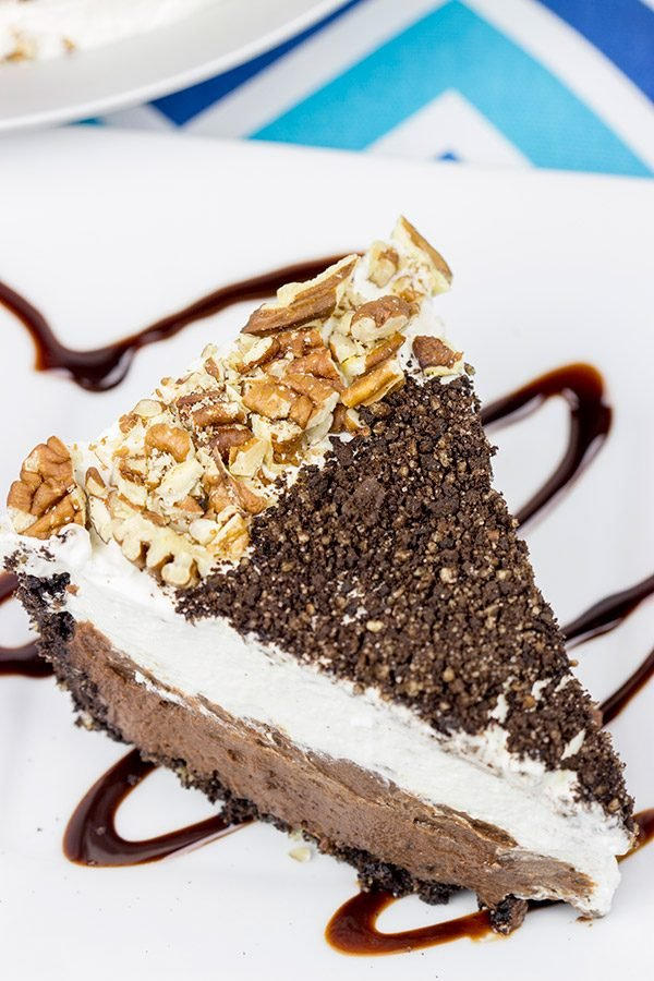 This Mocha Mississippi Mud Pie features a chocolate-pecan crust filled with a decadent mocha chocolate pudding. Add some whipped cream, and you've got the perfect summer dessert!
