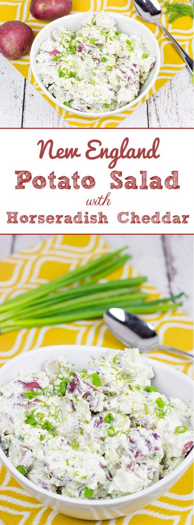 This lightened-up New England Potato Salad packs a flavor punch thanks to a handful of shredded horseradish cheddar cheese. It's a summer picnic classic!