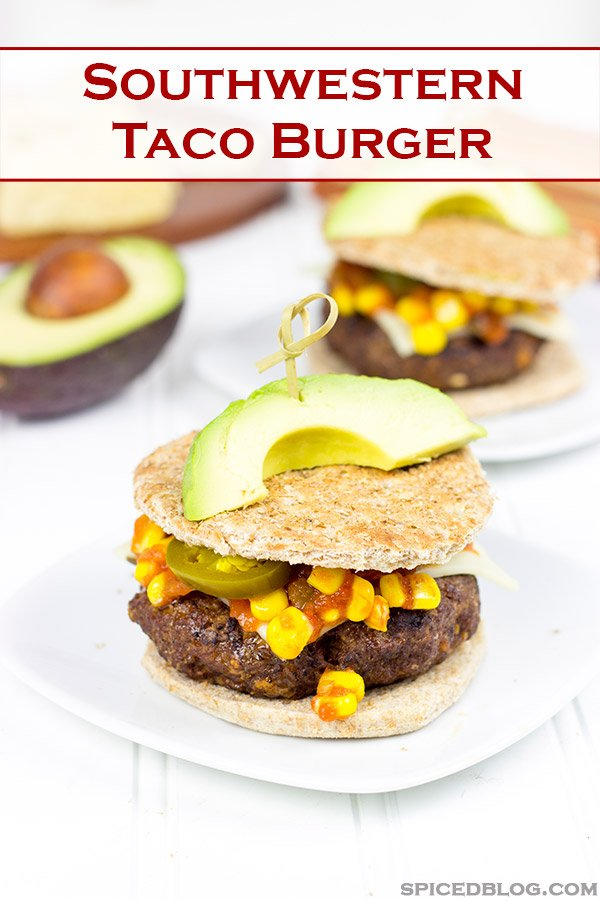 Loaded with southwestern seasonings and topped with corn salsa, this Southwestern Taco Burger is a fun way to mix up burger night!