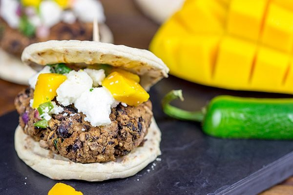 Looking for a fun and healthy way to mix up the summer grilling routine? Try these Black Bean Sliders with Mango Jalapeno Salsa!