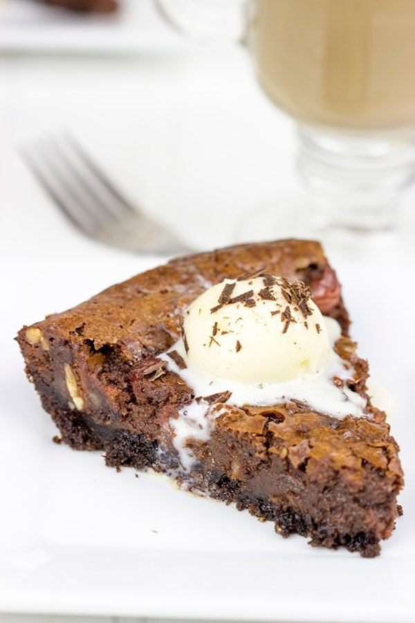 This Black Forest Brownie Pie features a chocolate crust filled with a decadent chocolate and cherry brownie filling!