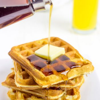 These Fluffy Buttermilk Waffles are light and flavorful...perfect for Saturday morning breakfasts!