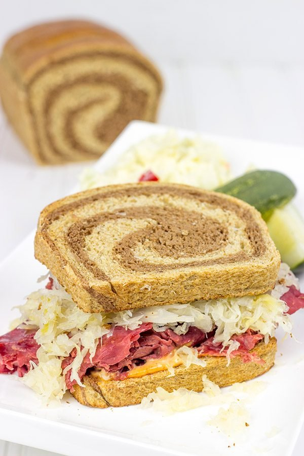 Fresh bread is the best kind of bread! This homemade Marbled Rye Bread is not only fun to make, but it's the perfect bread for delicious reuben sandwiches!