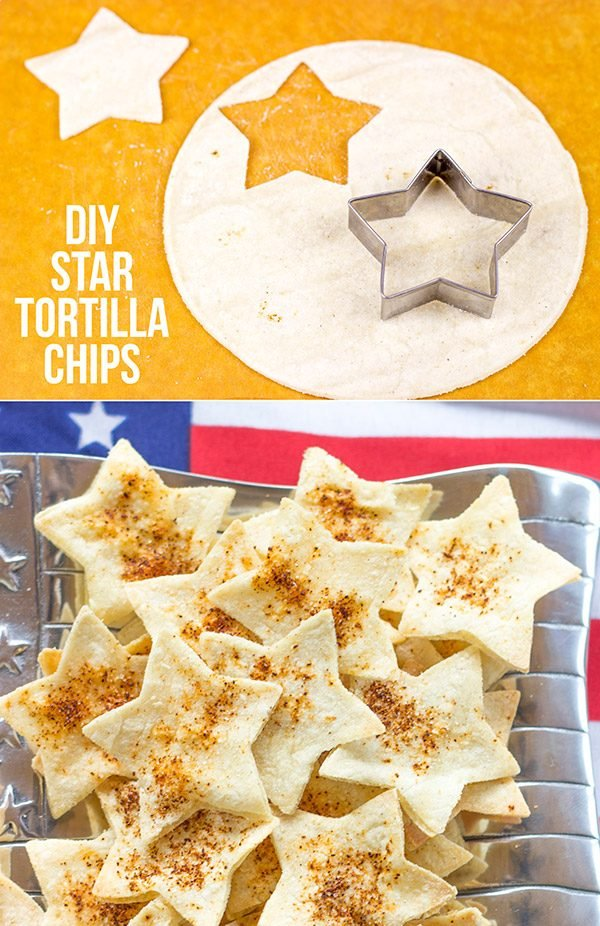 Serve these star-shaped Seasoned Tortilla Chips with homemade salsa for a delicious 4th of July snack!