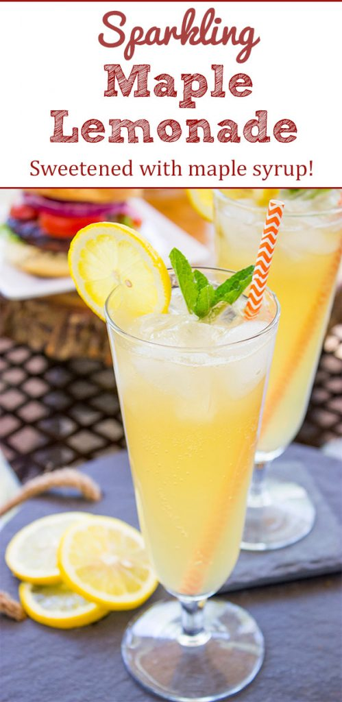 Sweetened with maple syrup, this Sparkling Maple Lemonade is a refreshing drink to serve on a hot summer day!