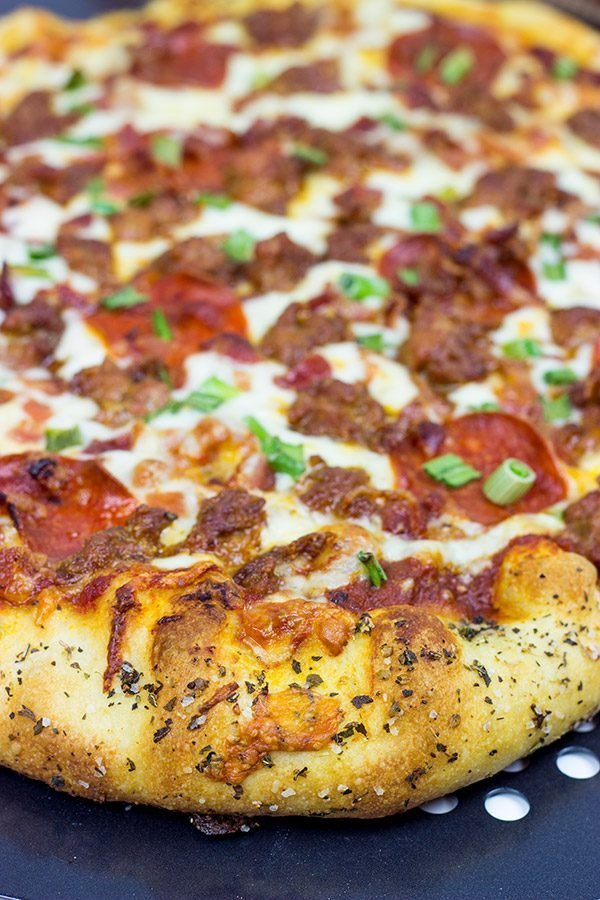 This Meat Lover'sPizza is loaded with cheese, sausage, bacon and pepperoni...and it's guaranteed to satisfy that pizza craving!