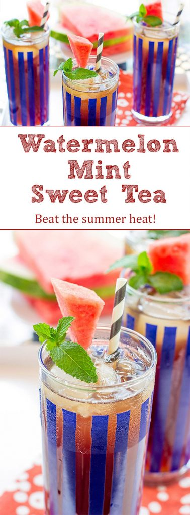 Beat the summer heat with a cold glass of this Watermelon Mint Sweet Tea!