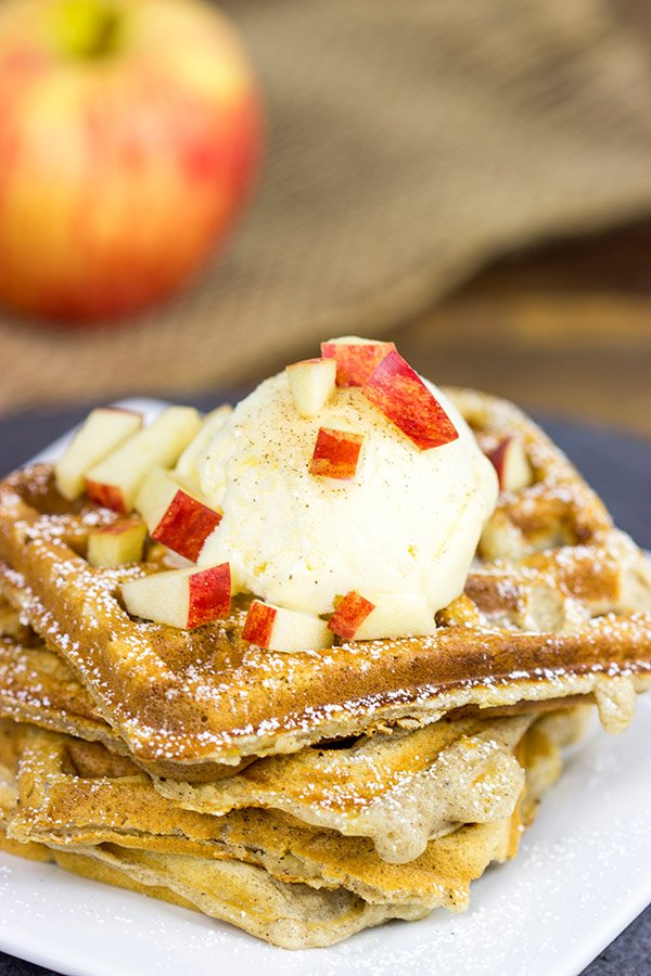 These Apple Pie Waffles are loaded with Fall flavor, and they're perfect for Saturday morning breakfast...or Saturday evening dessert!