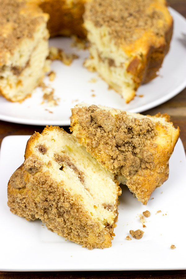 Studded with diced apples and topped with a streusel crumble, this Apple Streusel Coffee Cake is perfect with a morning cup of coffee!