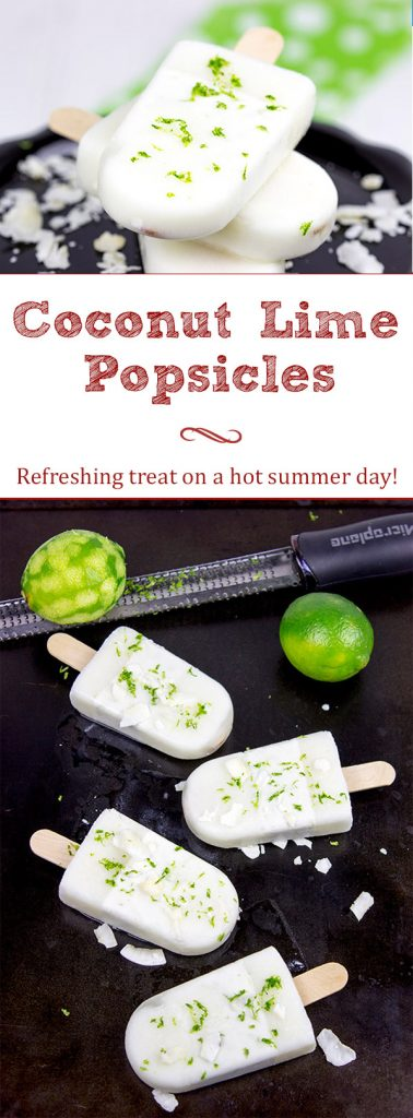 These tropical Coconut Lime Popsicles are a fun and refreshing snack on a hot summer afternoon!