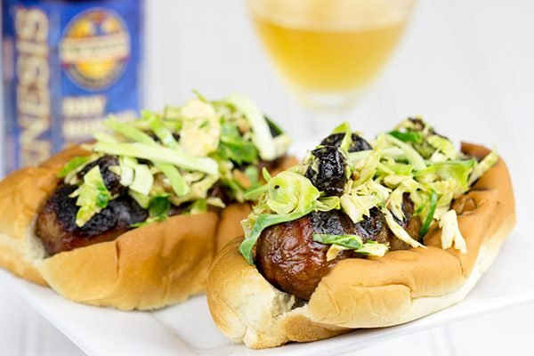 Grill up some brats and top 'em with this tasty Cherry Bacon Brussels Sprout Slaw!