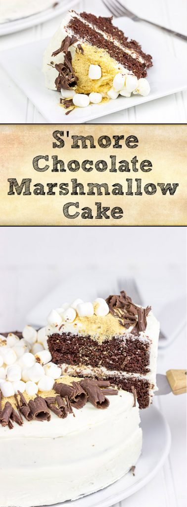 Who needs acampfire when you have this S'more Chocolate Marshmallow Cake?