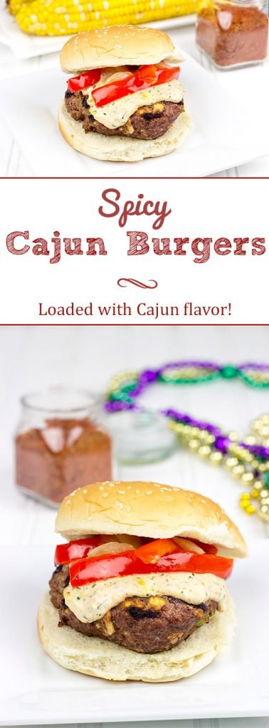Loaded with Cajun flavor and topped with a remoulade sauce, these Spicy Cajun Burgers are sure to be a hit at your next backyard picnic!