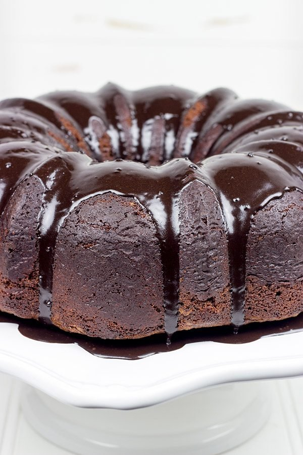 This decadent Chocolate Pound Cake features a Nutella Glaze.