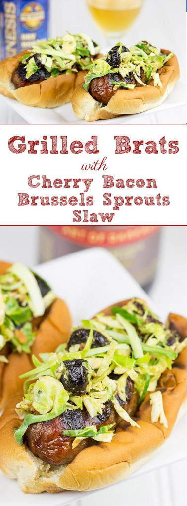 Grilled brats are a summertime classic!  Turn up the flavor by topping 'em with this tasty Cherry Bacon Brussels Sprout Slaw!