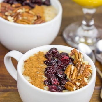 This Maple Pecan Pie Oatmeal is loaded with warming Fall flavors!