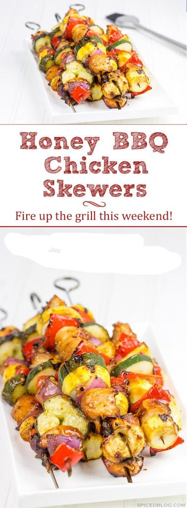 Brushed with a quick and easy glaze, these Spicy Honey BBQ Chicken Skewers make for one heck of a tasty dinner on the grill!