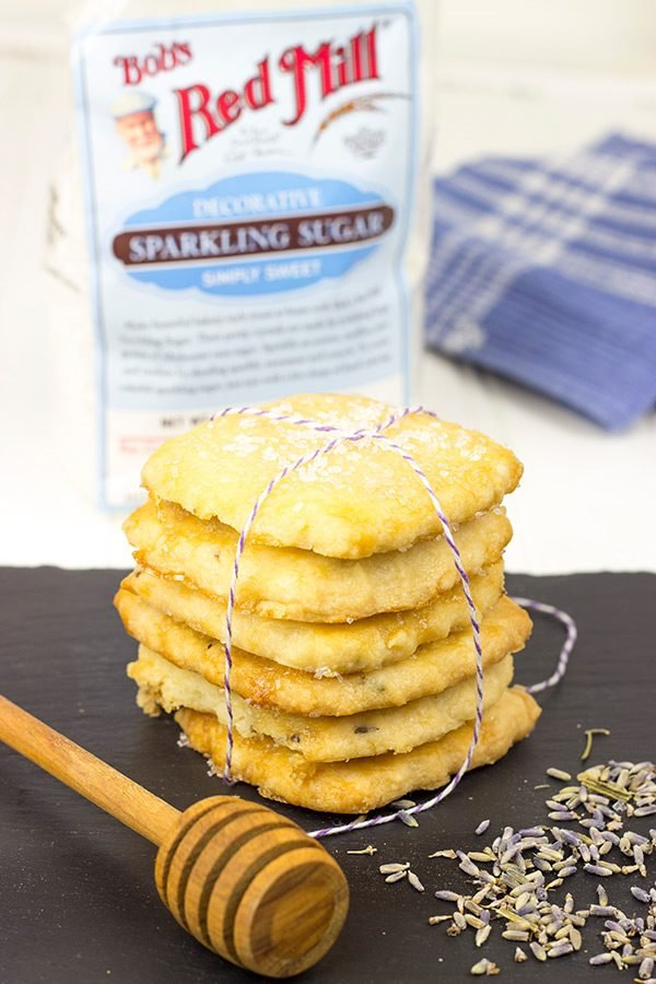 Topped with a generous amount of sparkling sugar, these Honey Lavender Shortbread Cookies make for one heck of a tasty afternoon snack!