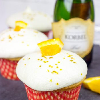 Topped with a festive champagne buttercream, these Mimosa Cupcakes are an excellent way to ring in the new year!