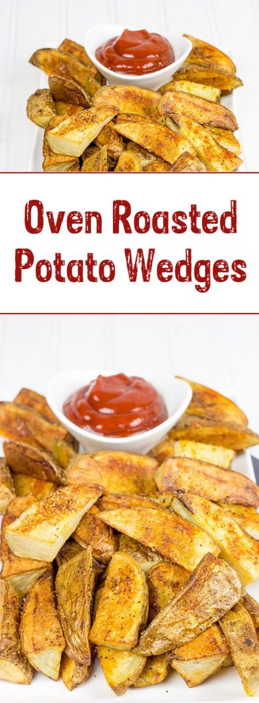 Serve these delicious Oven Roasted Potato Wedges with a quick and easy Smoky Ketchup. I dare you to just eat one!