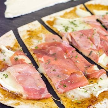Step up your snack time with these easy Brie and Fig Jam Flatbreads!