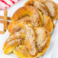 Skip the mall food court and make these Cinnamon Sugar Soft Pretzels at home!