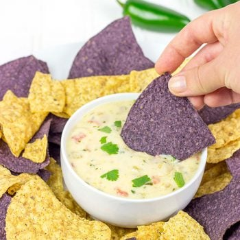 This Classic Nacho Cheese Dip is a favorite come kickoff (or tipoff) in our house!