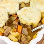 Easy Beef Stew with Rosemary Biscuit Topping