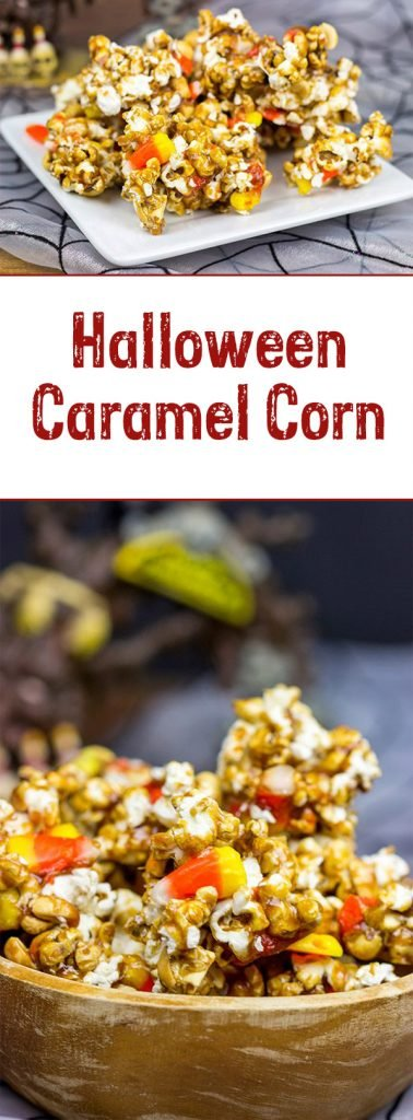 Grab some extra candy corn and whip up a batch of this tasty Halloween Caramel Corn!