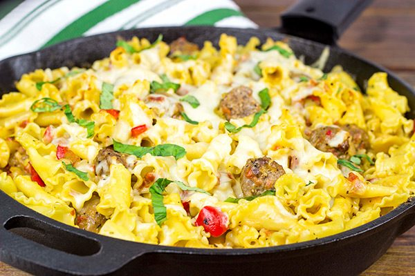 This Italian Sausage Pasta Skillet Bake makes for one heck of an awesome weeknight meal! #SausageFamily