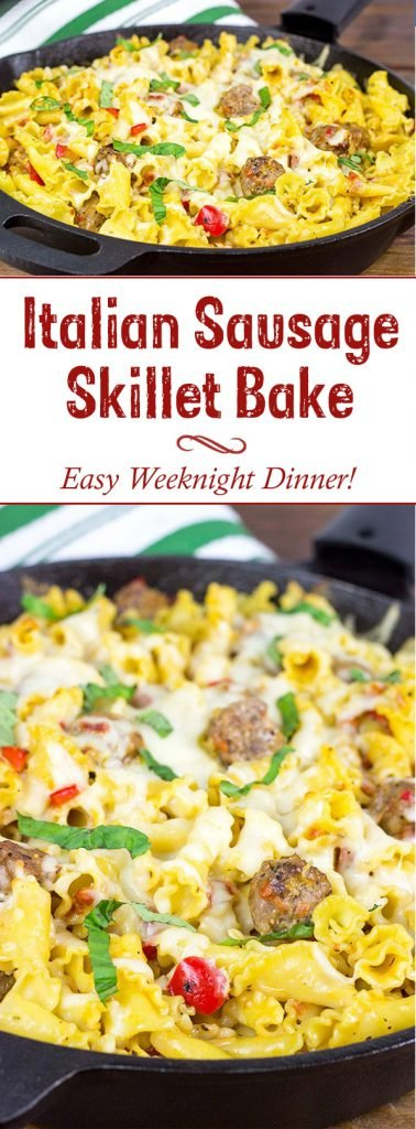 This Italian Sausage Pasta Skillet Bake makes for one heck of an awesome weeknight meal!