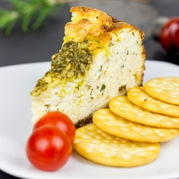 Serve up this Truffle and Herb Ricotta Cheesecake as a fun and unique centerpiece to your holiday cheese tray!
