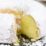 Powdered Sugar Doughnut Cake