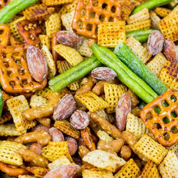 Ditch the chips and whip up a tasty snack hack instead! This Wasabi Soy Party Mix is a game-time favorite around our house!