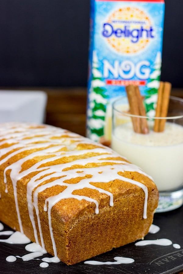 Celebrate the holidays with a slice of Eggnog Pound Cake and a mug of hot chocolate!
