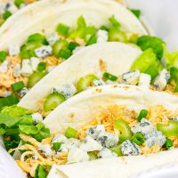 Slow Cooker Buffalo Chicken Tacos. Easy, epic football food!