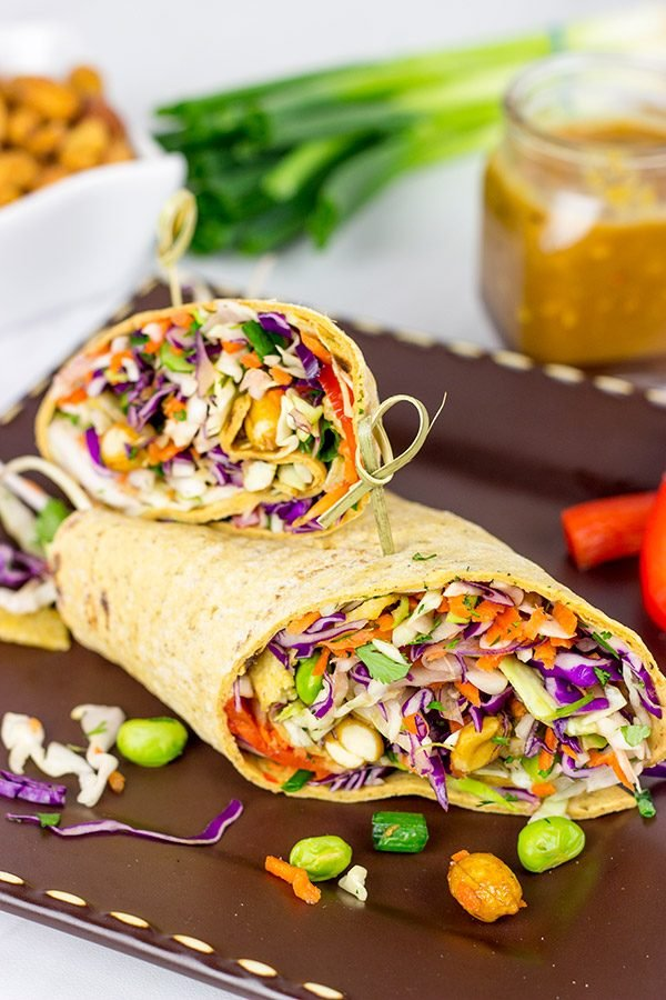 Make Lunch Fun Again With These Thai Peanut Wraps