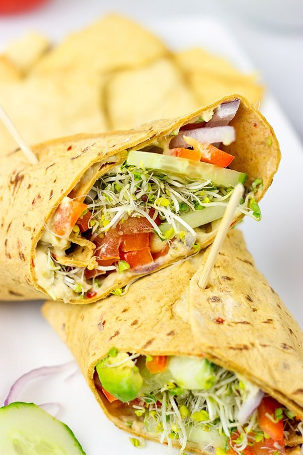 Easy, tasty and healthy. What's not to love about these Veggie Hummus Wraps?