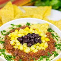 This Mexican Style Hummus makes for a delicious late afternoon snack...especially when served with friends and family!