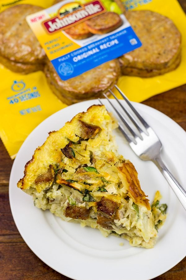 This tasty Sausage and Green Apple Quiche is perfect for breakfast, brunch or dinner!