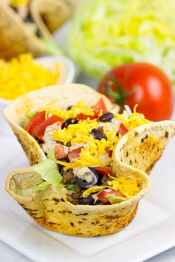 The crispy, seasoned bowls are the best part of these tasty Taco Salad Bowls!