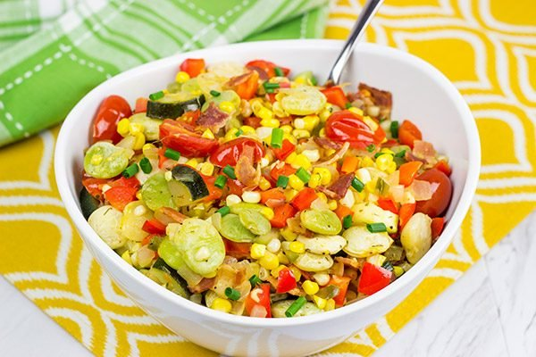 This Southern Garden Succotash is a great way to use your favorite garden veggies!
