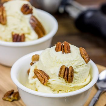 Topped with chopped, candied pecans, this Butter Pecan Ice Cream is a classic ice cream flavor!