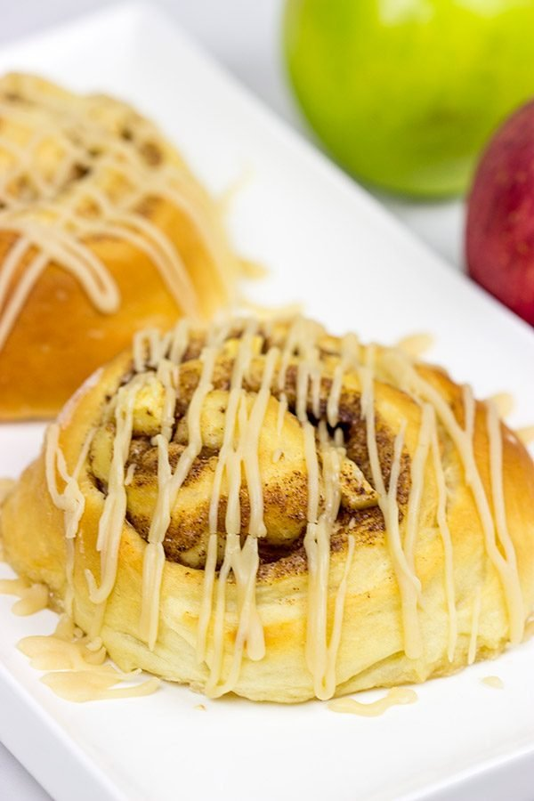 These Caramel Apple Cinnamon Rolls are the perfect way to welcome in the cooler October temperatures!