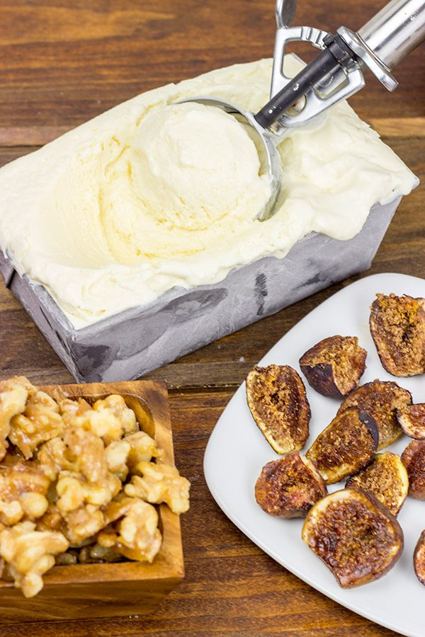 As we ease from Summer into Fall, let's sit back and relax with a bowl of Honey Ice Cream with Roasted Figs!